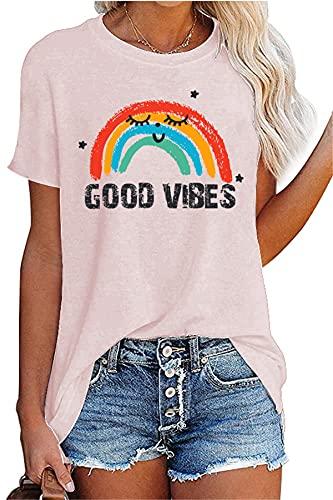 Camiseta de tirantes para mujer, diseño de arcoíris y texto en inglés 'Be You', 4-Rosa, XS