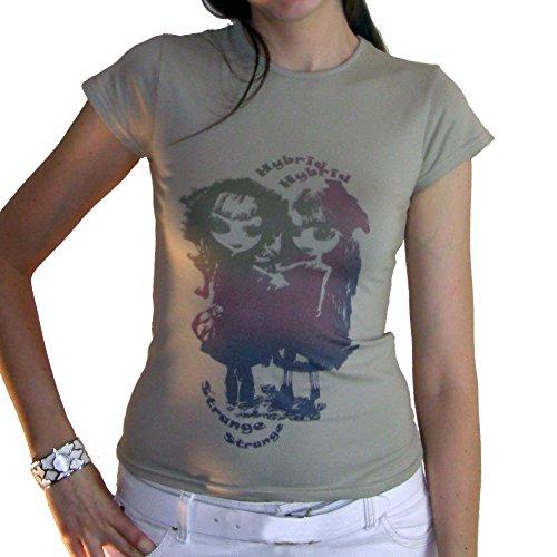 Girls Multico :T-shirt Femme imprimŽ poupŽes manga - Blanc, S, t shirt femme