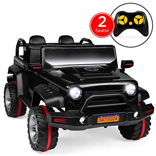 Best Choice Products Kids 12V RC 2-Seater Ride On Truck w/, LED Lights/Sounds, MP3, Black
