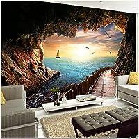 Xbwy 装飾壁画 3D壁画壁紙壁日没からの洞窟ロングギャラリー写真壁紙リビングルームテレビソファ背景-400X280Cm