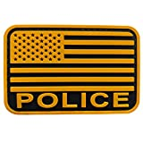 uuKen American Flag Police Patch PVC Black and Gold Yellow 2x3 inches for Police Department Tactical Vest Plate Carrier Jackets (Yellow, S 3'x2')