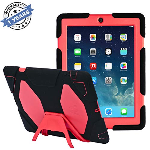 Ipad 2/3/4 Case, Kidspr Ipad Case New Hot Super Protect [Shockproof] [Rainproof] [Sandproof] with Built-in Screen Protector for Apple Ipad 2/3/4 (Black/Red)
