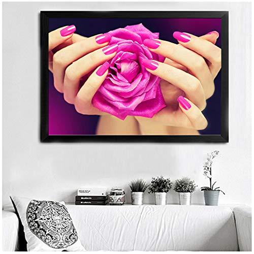 LILONG Leinwand Malerei Nagel Bunte Bild Moderne Nagelstudio Mode Wandbild Drucken -60x80 cm Kein Rahmen