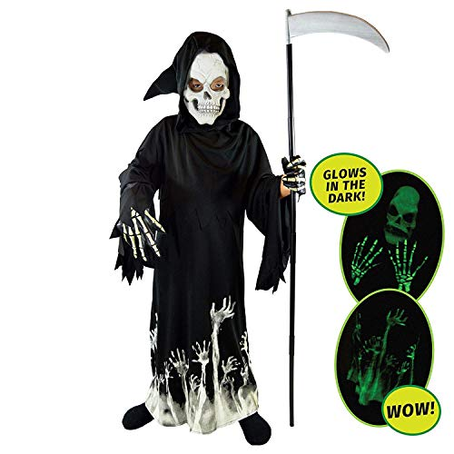 Spooktacular Creations Vestito Halloween Bambino Vestito Scheletro Bambino Luminoso Grim Reaper Glow in The Dark Deluxe Phantom Costume Fancy Dress per Bambini (Small, Black)