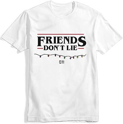 Camiseta Stranger Things Niña, Camiseta Stranger Things Mujer Friends Dont Lie Unisex Mujer Hombre Impresión Manga T-Shirt Abecedario Camisa de ...