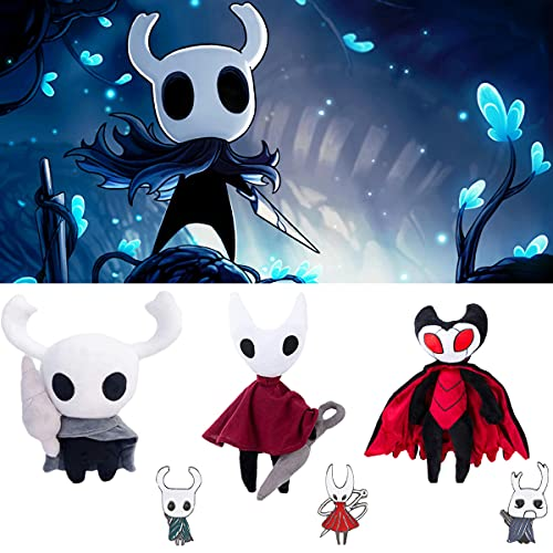 Lyshbzd 3 pcs Hollow Knight Plush Toys Set, Game Hollow Knight Plush Figure Doll, Zote/Grimm/Hornet Stuffed Soft Gift Toys, Comes with Hollow Knight Brooch, for Kids Gift