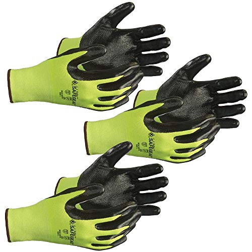 SAFEGEAR Nitrile Gloves X-Large, 3 Pairs - ANSI Level A2 Cut-Resistant Black Nitrile & Lime Green Elastic Knit Gloves, Latex Free, Work & Gardening Gloves for Men and Women - J. J. Keller