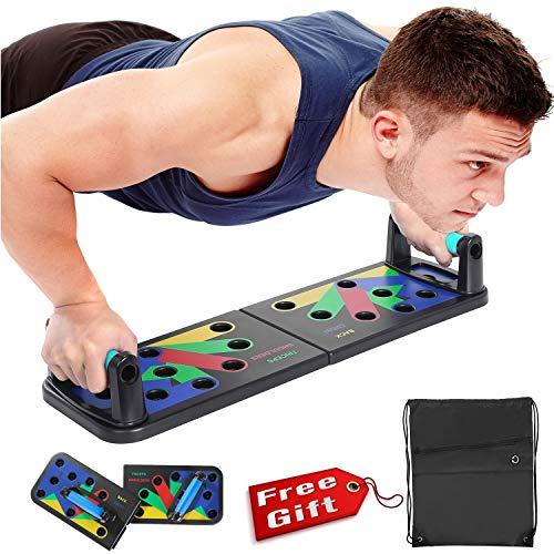 Push Up Board Push-up Hochschieben-Brett Zusammenklappbares tragbares Fitness-Training 12 in 1 kommen mit Trainingsplan Tragbarer Rucksack Anti-Rutsch-Aufkleber