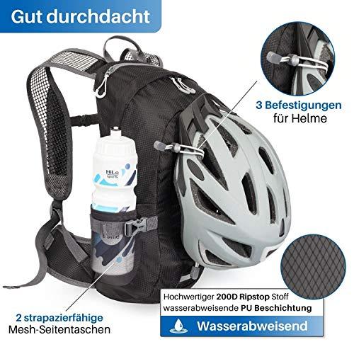 HiLo sports Radrucksack Allrounder 14 Liter - Fahrradrucksack mit Rücken Ventilationssystem - Wasserabweisender MTB Rucksack Sport - Tages Rucksack (schwarz)