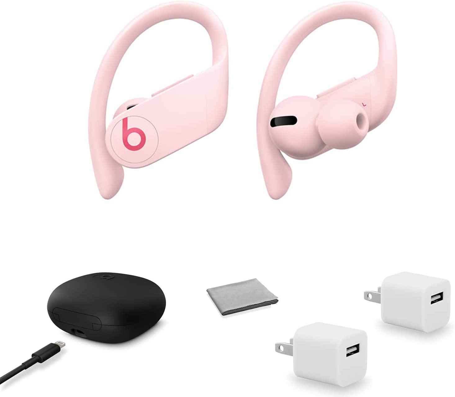 Beats by Dr. Dre Powerbeats Pro in-Ear Wireless Headphones (Cloud Pink) MXY72LL/A with 2X USB Wall Adapter Cubes + More