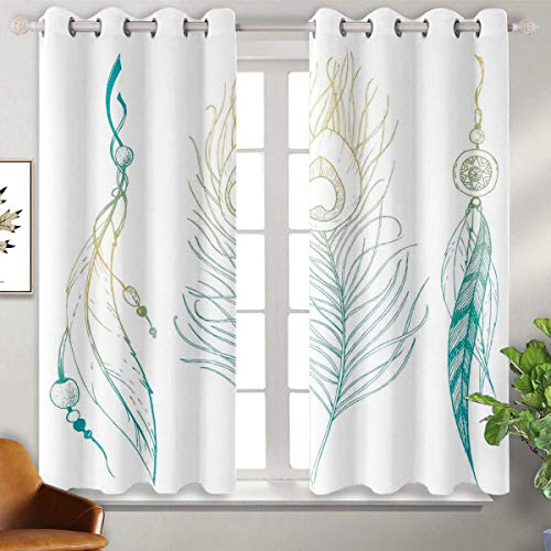 Price comparison product image June Gissing Feather House Decor 3D Pattern Print Curtain Home Decoration Aesthetic First Nations Feather and Peacock Tail Traditional Design Suitable for Light-Colored Curtains W55 x L45 Mint Yellow