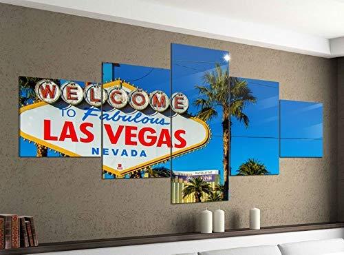 Acrylglasbilder 5 Teilig 200x100cm Las Vegas schild Welcome USA Palmen Druck Acrylbild Acryl Acrylglas Bilder Bild 14F931