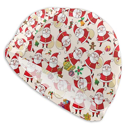 Lycra Swim Cap Christmas Santa Claus Xmas for Long Hair Novelty Swimming Caps Cover Ears Unisex-Adult White