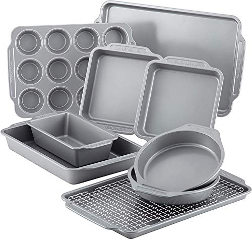 Nonstick Steel Bakeware Set with Cooling Rack, Baking Pan and Cookie Sheet Set with Nonstick Bread Pan and Cooling Grid, 10-Piece Set