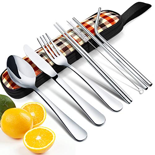 8 Pieces Portable Reusable Travel Cutlery Set, Elegant Life Travel Camping Utensils Stainless Steel Flatware Silverware Set, Including Knife,Fork,Spoon, Chopsticks,Cleaning Brush, Straws, Portable Bag