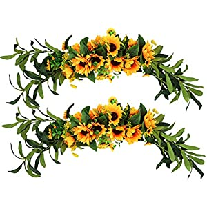 2PCS Artificial Sunflower Swag Silk Handmade Swag Flowers 27.55 Inch Decorative Swag with Greenery Leaves and Ribbon for Table Home Office Wedding Arch Party Decor,Yellow