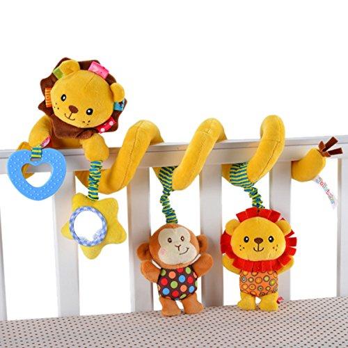 Happy Cherry Juguete Peluche Espiral de Actividades Sonajero con Sonidos Colgante Animales Multicolor León para Bebés Recién Nacidos Niños Carrito Cochecito Cuna
