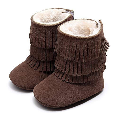 HONGTEYA Real Leather Fringe Baby Booties for Girls Boys Winter Warm Snow Boots with Tassels Soft Sole Fur LinedToddler Moccasins Shoes (6-12 Months Infant, Dark Brown)