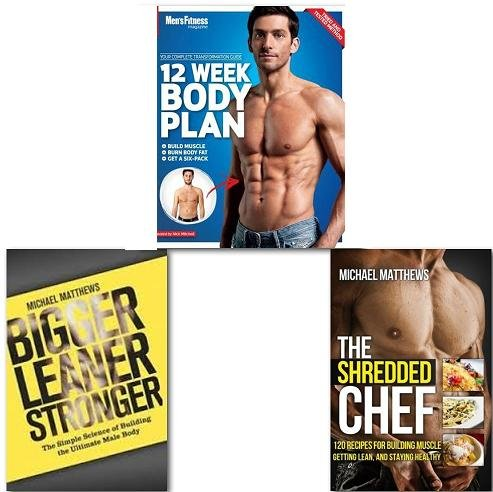 Men's Fitness 3 Books Collection Set, (Mens Health, The Build Healthy Muscle), (Men's Fitness 12 Week Body Plan, The Shredded Chef, Bigger Leaner Stronger)