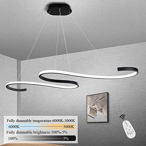 GBLY LED Pendelleuchte Esstisch 46W Dimmbar Hängeleuchte Schwarz Pendellampe Modern Hängelampe Höhenverstellbar Innen Denckenbeleuchtung für Esszimmer Schlafzimmer Büro Kurve Design mit Fernbedienung