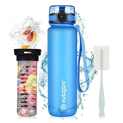 eulogize Trinkflasche 1l BPA Frei, Sportflasche Kunststoff mit Filter, auslaufsichere 1-klick Verschluss, Für Schule,Fahrrad,Gym,Yoga, Camping