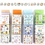 EKOI Cute Washi Tape Set 15mm Kawaii Japanese Korean Animal Dog Cat Cartoon Theme Design Masking Duct Tape Sticker Decorative Craft Happy Planner Journal Gift Wrapping Kids Supplies 12 Rolls Pack