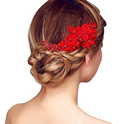 Pixnor Fleur à la main côté cheveux peigne coiffure mariée mariage accessoires rouge