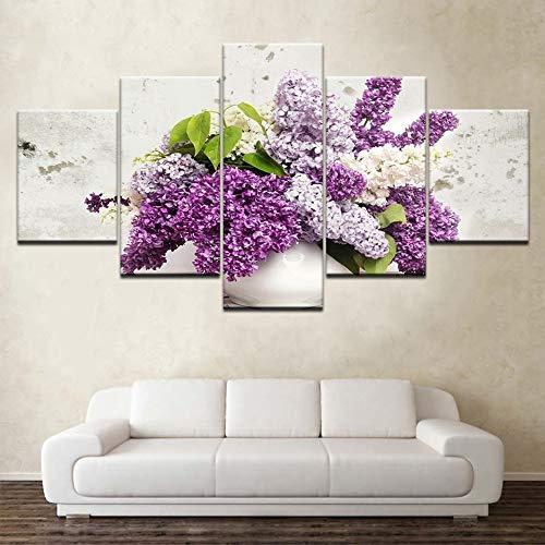 MMLFY 5 aufeinanderfolgende Gemälde Flieder in Einer Vase Blumen 5 Panels HD Print Wall Art Moderne modulare Poster Kunst Leinwand Gemälde für Wohnzimmer Home Decor