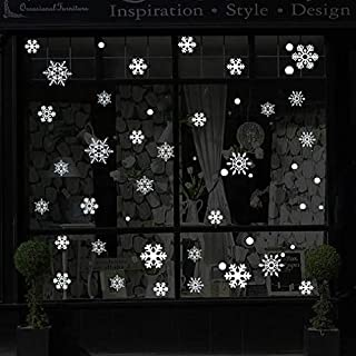 Christmas Decorations Snowflake Window Clings, White Snowflakes Decorations, Winter Snowflake Decals Window Cling Sticker...
