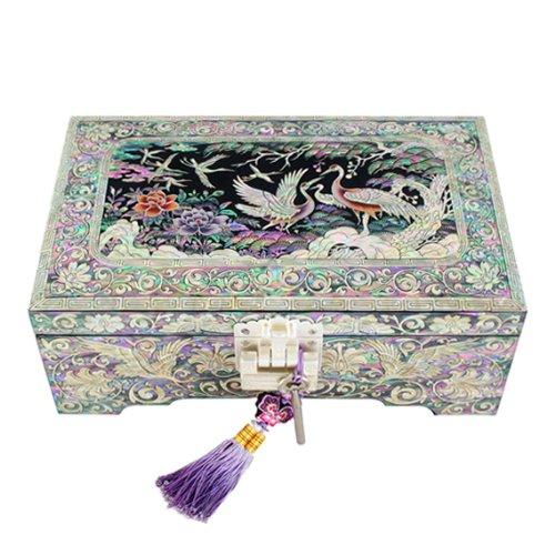 Boîte à Bijoux Bois Laqué Nacre Clé Miroir Intégré Tradition Corée NUIT SAUVAGE