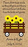Wedding Wildflower Seed Packet Favors 50 qty. Personalized-Burlap Sunflower Wagon Design 6 verses to choose