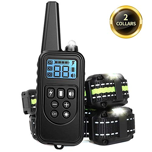 Adubor Dog Training Collar 2 Dogs Rechargeable Dog Shock Collar, 4 Training Modes, Beep, Vibration, Shock and Light, IPX7 Waterproof,Up to 2600Ft Remote Range