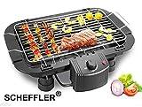 SCHEFFLER Barbeque Tischgrill, Metall-Auffangschalen, Schwarz, 2000 Watt Elektrischer Grill, Balkongrill Heimgrill