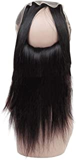 Vergeania 9Aストレートウェーブ360前頭閉鎖付きキャップ100%未処理人毛8インチ-20インチフルレース前頭かつら150密度パーティーウィッグ (色 : ブラック, サイズ : 16 inch)