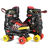 WeSkate Kids Roller Skates Comfortable Breathable Quad Skates for Girls and Boys Skating (Black)