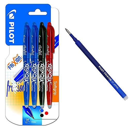 Pilot Spain Frixion Ball Bolígrafo borrable, 4 unidades, multicolor + Pilot BLS-FR7-L-S3 Recambio Frixion, color azul, paquete de 3 unidades
