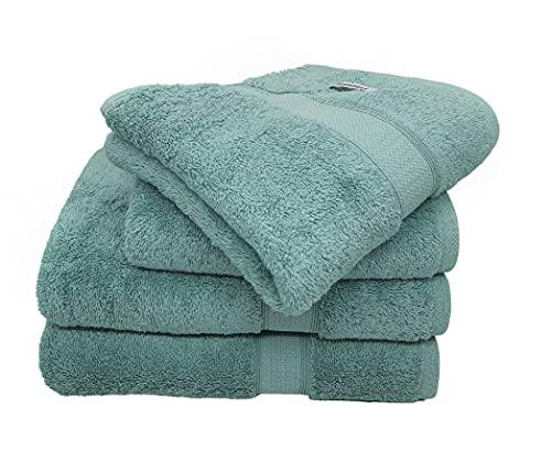 Bademayer Fusselfreis - Juego de 4 toallas de ducha (100% algodón egipcio peinado, 600 g/m²), color turquesa