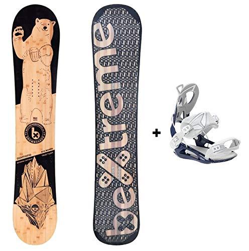 Bextreme Pack Tabla Snowboard Freestyle Diamond 2020 con Fijaciones SP Private. Snow Wide para Hombre y Mujer Fabricado con Bambu, Haya y álamo. (Fijaciones SP 39-42 EU, 152cm)
