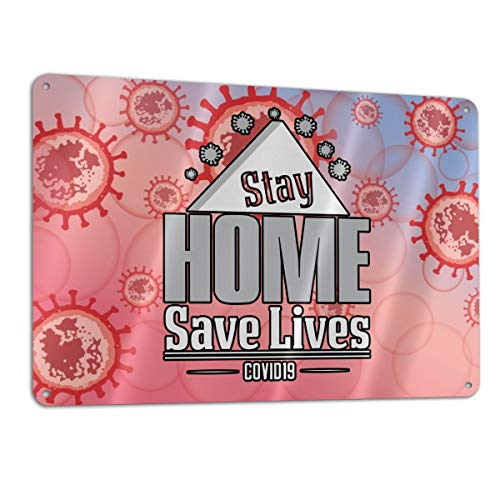 SD3DPrint Stay At Home Stop Coronavirus Covid-19 Cartel de aluminio de 30,5 x 20,3 cm