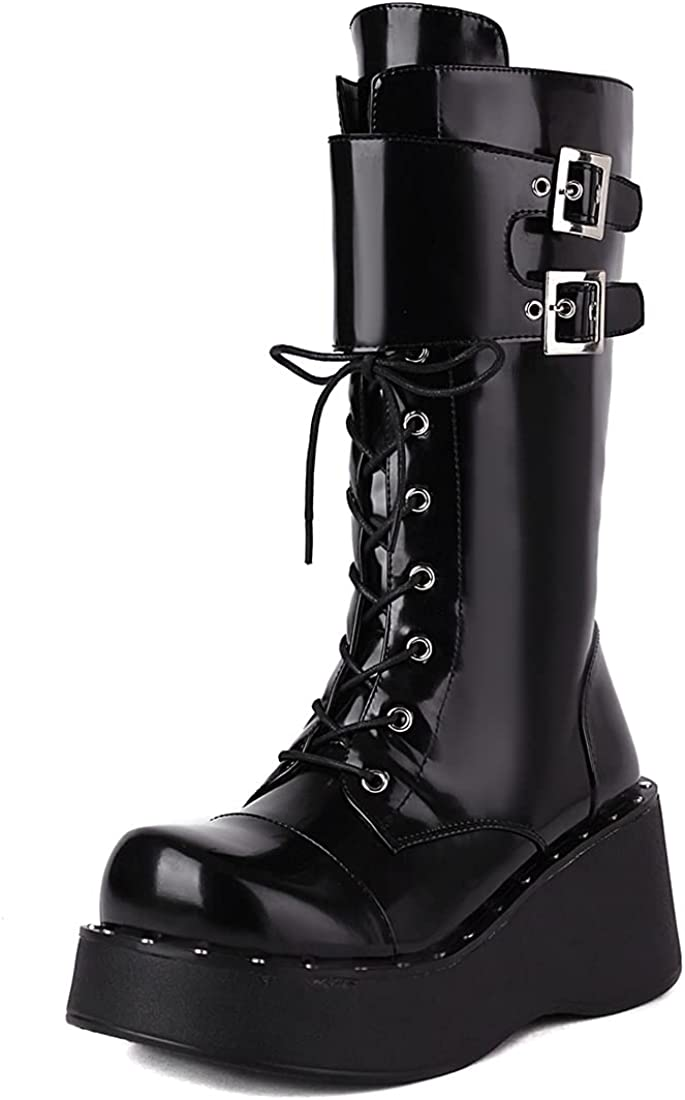 YIYA Black Mid Calf Combat Boots for Women with Buckles Lace Up Zipper Gothic Platform Boots Chunky Heel Motorcycle Booties