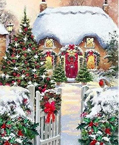 jzxjzx kerstschilderij mozaïek steen iglo-slot vol vierkante diamant mozaïek jongen cartoon in huis DIY decoratie handwerk kunst geschenk