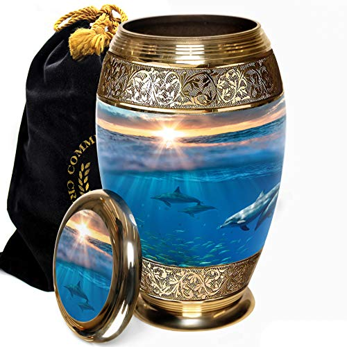 Dolphin Divinity Cremation Urns for Human Ashes Adult for Funeral, Burial, Columbarium or Home, Cremation Urns for Human Ashes Adult, Urns for Ashes (Dolphin Destiny, Large / Adult)