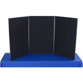 3-Panel Tabletop Exhibition Board, 72 x 36 - Black and Gray Hook & Loop-Receptive Fabric, for Trade Shows and Presentations