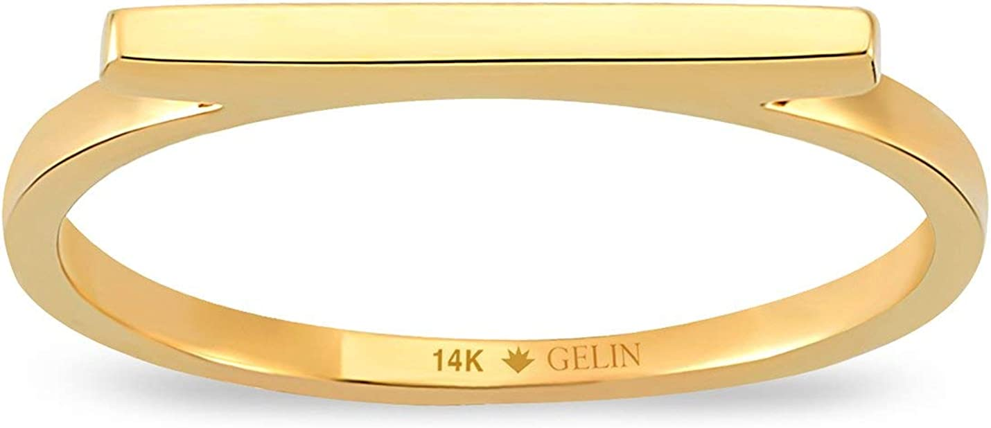 GELIN Slim Line Bar Ring in 14k Solid Gold   Cute Ring for Women   Stacking Ring Jewelry - Size 8