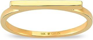 جيلين خاتم شريط رفيع من الذهب الصلب عيار 14 قيراط | خاتم لطيف للنساء | خواتم متراصة المجوهرات