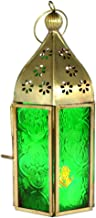 JAIPURCRAFT Moroccan Lantern Coloured Glass Hanging Lamp | Home Decor | Tealight Holder Made with Gold Color Iron Body Green JPCH023G