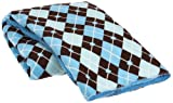 Northpoint Sherpa Back Printed Baby Blanket, Blue Argyle