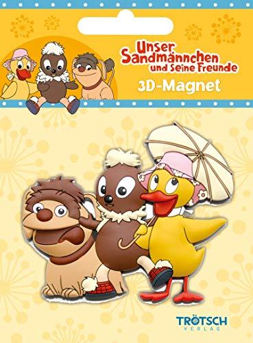 3 D Magnet 3 Freunde, Sandmännchen, Pitti, Pittiplatsch, Schnatterinchen, Schnatti mit Schirm, Moppi, Sandmann