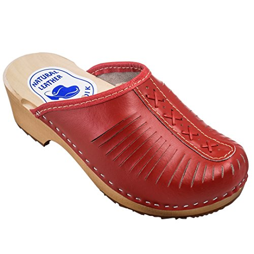 ESTRO Zuecos De Madera para Mujer Calzado Sanitario De Trabajo CDL01 (36, Rojo)