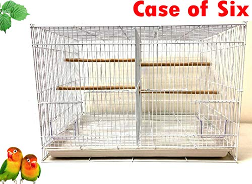 """Mcage Case of 6 Aviary Canary Budgie Breeding Finch Parakeet Flight Bird Cage with Center Divider 24"""" x 16"""" x 16""""H (White, with Center Divider)"""
